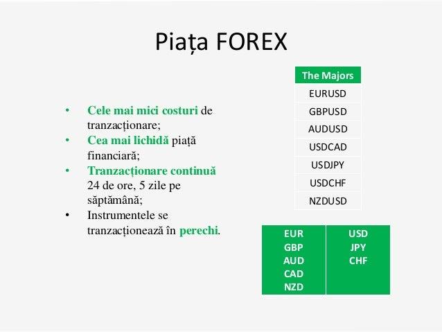 Piața FOREX EUR GBP AUD CAD NZD USD JPY CHF • Cele mai mici costuri de tranzacționare; • Cea mai lichidă piață financiară;...