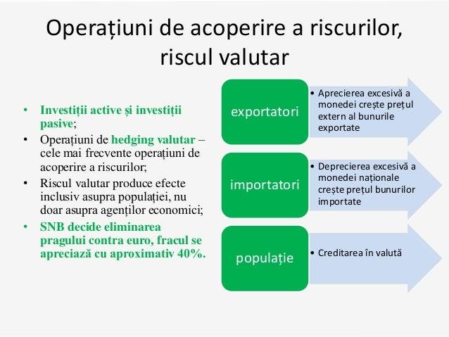 Operațiuni de acoperire a riscurilor, riscul valutar • Investiții active și investiții pasive; • Operațiuni de hedging val...
