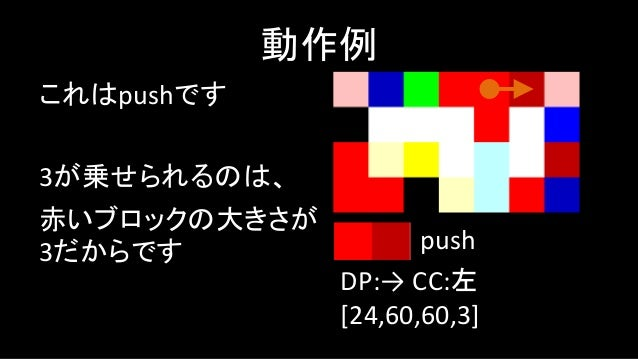 次に行くべきところは 行き止まりです 動作例 DP:→ CC:左 [24,60,60,3,1] push