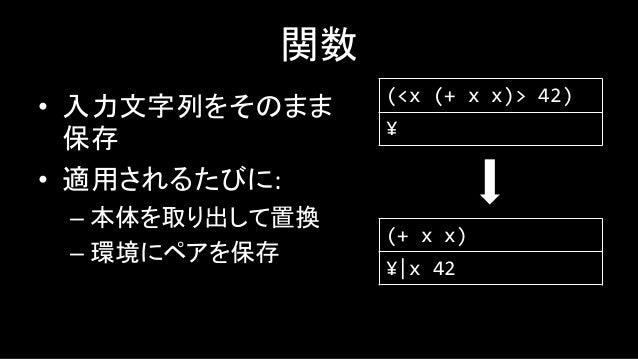 大丈夫その設計? • Funarg問題を抱えていてとにかく厳しい • λ式を環境に突っ込むときに内部の変数を ちゃんと展開すればできる…? – 良い方法が思いつきません – つよい人のアドバイスをお待ちしております