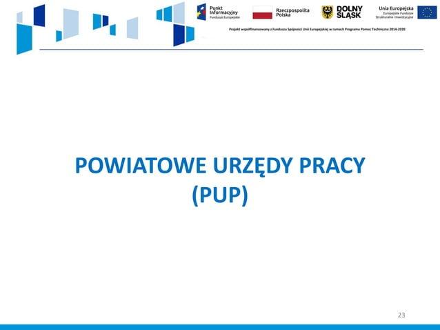 Oferowane wsparcie w ramach projektów unijnych PUP: ✓ pomoc w aktywnym poszukiwaniu pracy – oferty pracy, doradztwo zawodo...