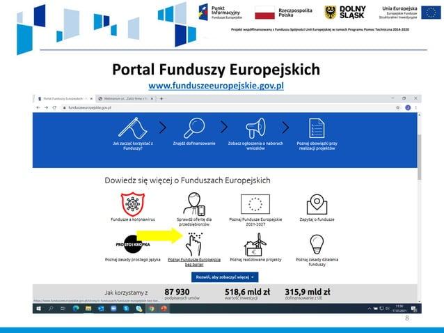 8 Portal Funduszy Europejskich www.funduszeeuropejskie.gov.pl