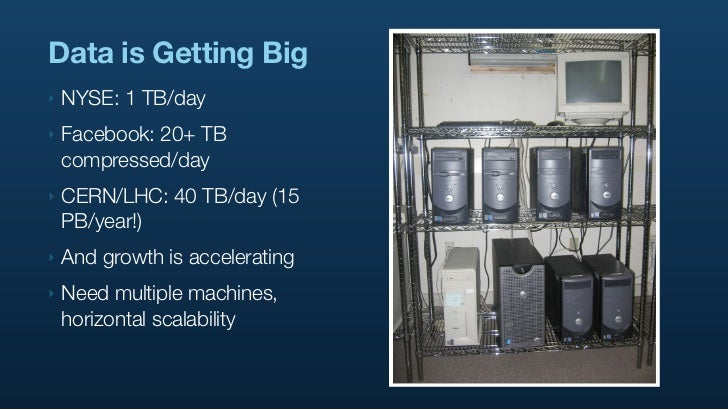 Data is Getting Big ‣   NYSE: 1 TB/day ‣   Facebook: 20+ TB     compressed/day ‣   CERN/LHC: 40 TB/day (15     PB/year!) ‣...