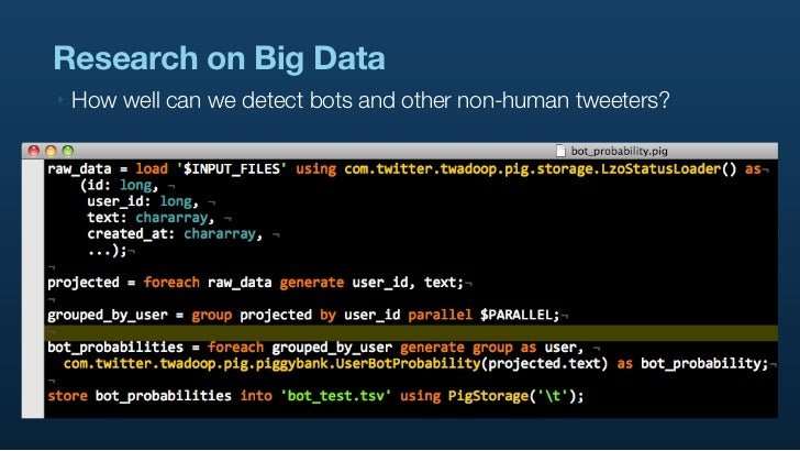 Research on Big Data ‣   How well can we detect bots and other non-human tweeters?