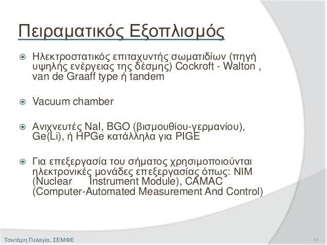 Πειραματικός Εξοπλισμός  Ηλεκτροστατικός επιταχυντής σωματιδίων (πηγή υψηλής ενέργειας της δέσμης) Cockroft - Walton , va...