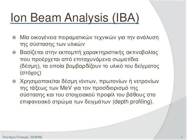 Ion Beam Analysis (ΙΒΑ)  Μία οικογένεια πειραματικών τεχνικών για την ανάλυση της σύστασης των υλικών  Βασίζεται στην εκ...