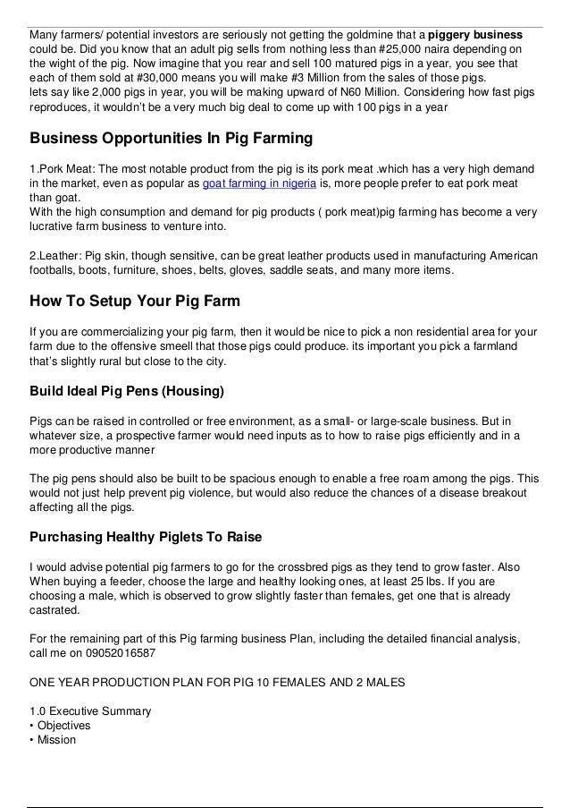 Pig farming business plan in Nigeria