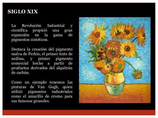 SIGLO XIX La Revolución Industrial y científica propició una gran expansión en la gama de pigmentos sintéticos. Destaca la...