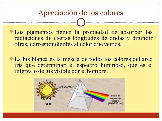 Apreciación de los colores Los pigmentos tienen la propiedad de absorber las  radiaciones de ciertas longitudes de ondas ...