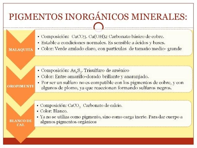 PIGMENTOS INORGÁNICOS NATURALES TRATAMIENTOS DE LAS SUSTANCIAS INORGÁNICAS NATURALES. Al obtenerse de las cuevas y minas, ...