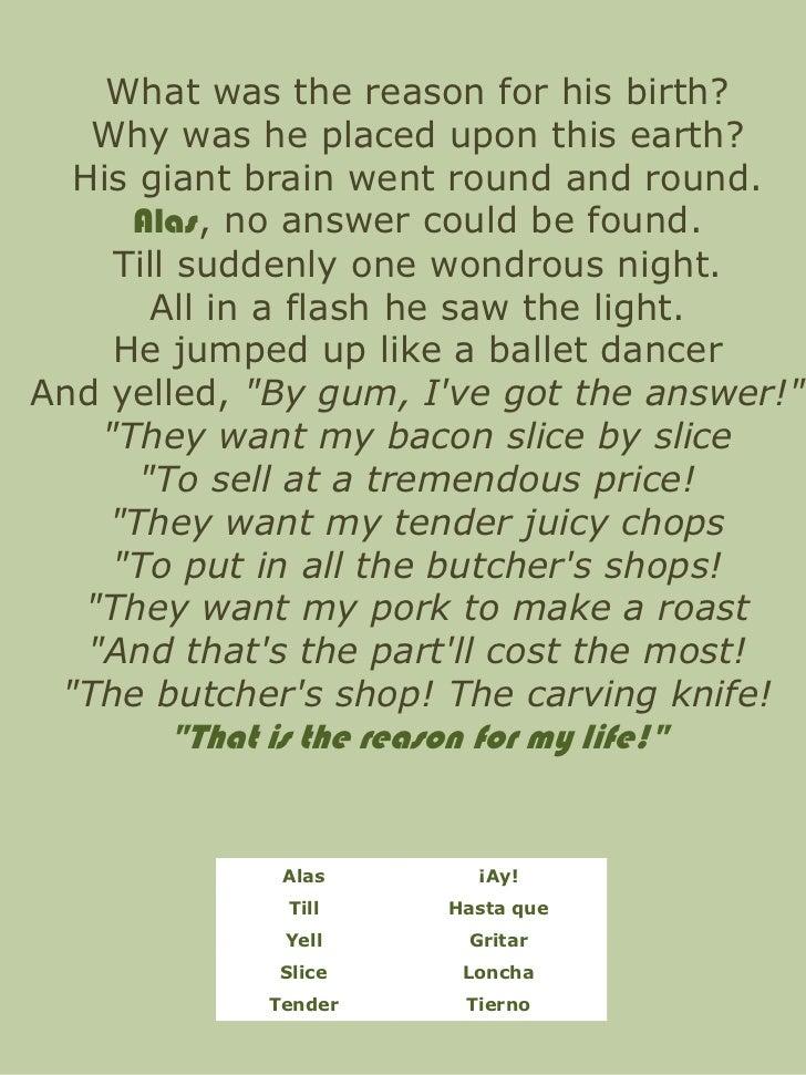 roald dahl pig poem