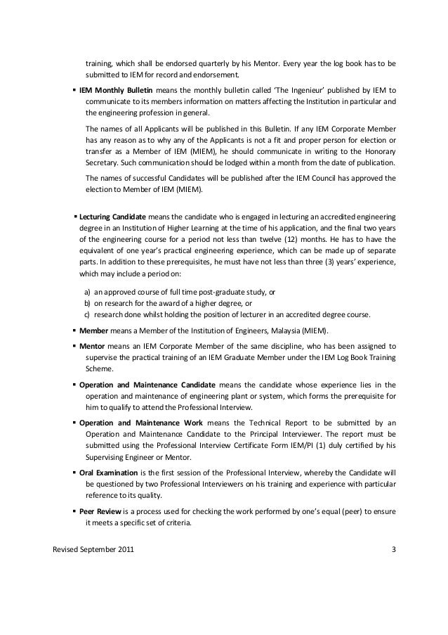 IEM Professional Interview (PI) guidelines revised Jan 2012