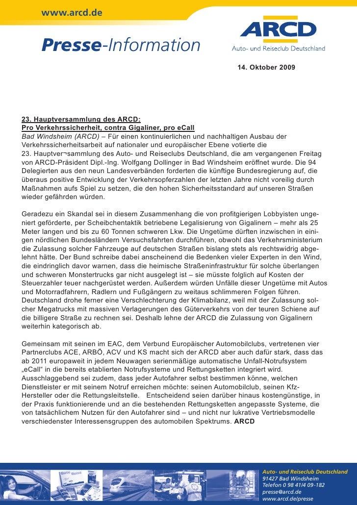 www.arcd.de      Presse-Information                                                                 14. Oktober 200923. Ha...