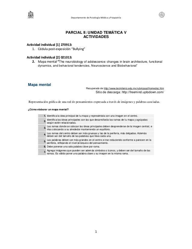Departamento de Psicología Médica y Psiquiatría 1 PARCIAL II: UNIDAD TEMÁTICA V ACTIVIDADES Actividad individual [1] 27091...