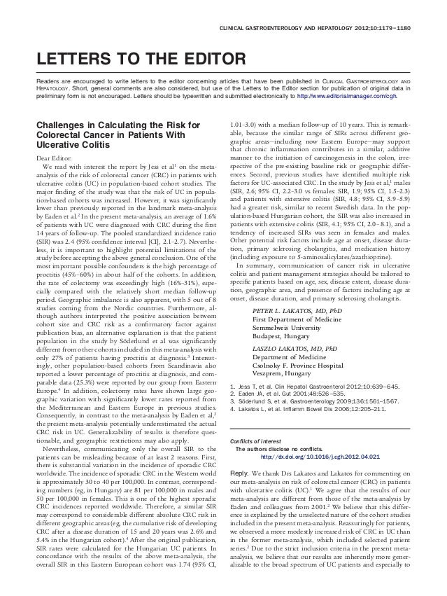 CLINICAL GASTROENTEROLOGY AND HEPATOLOGY 2012;10:1179 –1180LETTERS TO THE EDITORReaders are encouraged to write letters to...