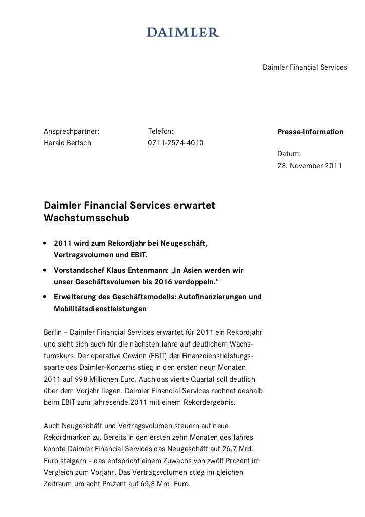 Daimler Financial ServicesAnsprechpartner:                Telefon:                                   Presse-InformationHar...