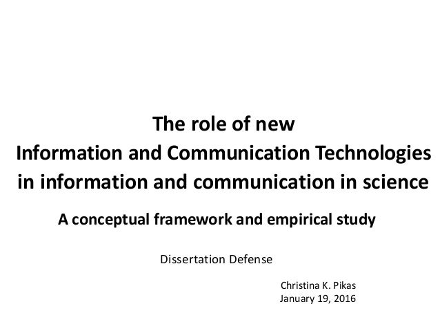 The role of new Information and Communication Technologies in information and communication in science A conceptual framew...