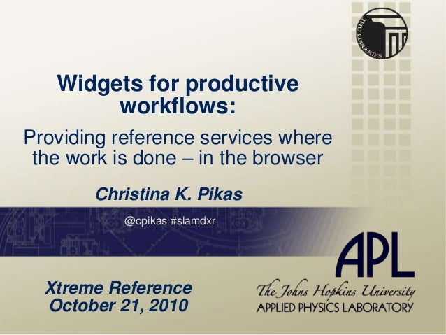 Widgets for productive workflows: Providing reference services where the work is done – in the browser Christina K. Pikas ...