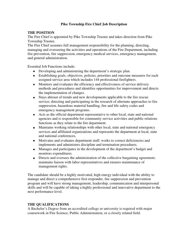 Exceptional Pike Township Fire Chief Job DescriptionTHE POSITIONThe Fire Chief Is  Appointed By Pike Township Trustee And ...