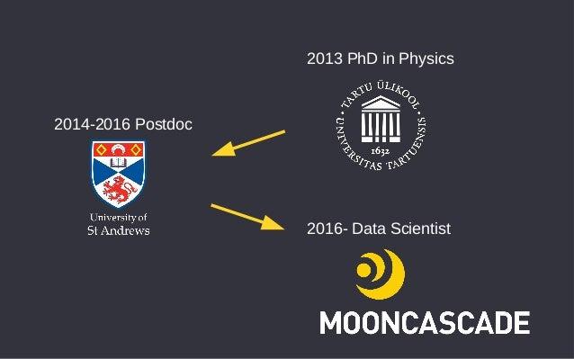 2013 PhD in Physics 2014-2016 Postdoc 2016- Data Scientist