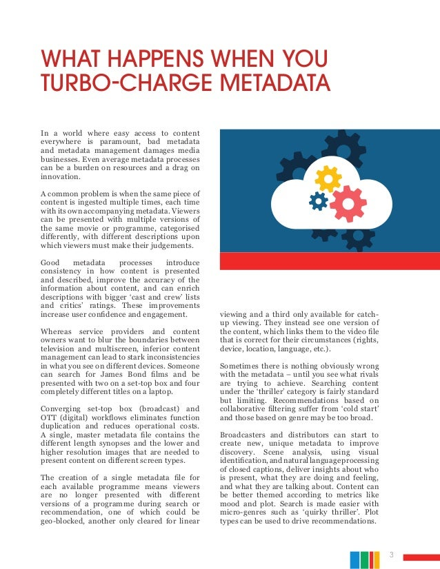 3 In a world where easy access to content everywhere is paramount, bad metadata and metadata management damages media busi...