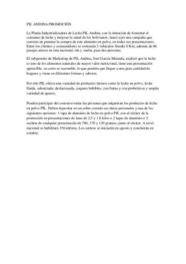 PIL ANDINA PROMOCIÓNLa Planta Industrializadora de Leche PIL Andina, con la intención de fomentar elconsumo de leche y mej...