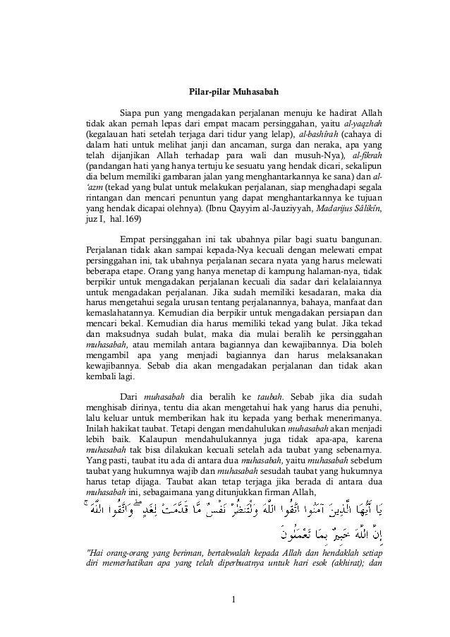 1 Pilar-pilar Muhasabah Siapa pun yang mengadakan perjalanan menuju ke hadirat Allah tidak akan pernah lepas dari empat ma...