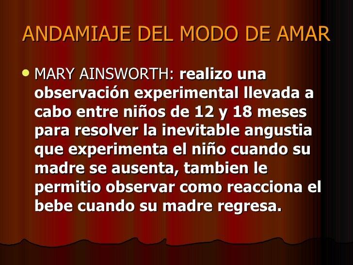 ANDAMIAJE DEL MODO DE AMAR <ul><li>MARY AINSWORTH:  realizo una observación experimental llevada a cabo entre niños de 12 ...