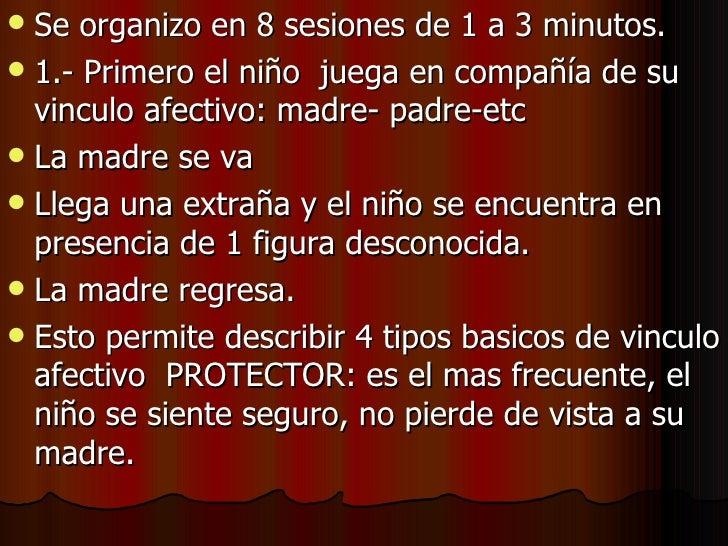 <ul><li>Se organizo en 8 sesiones de 1 a 3 minutos. </li></ul><ul><li>1.- Primero el niño  juega en compañía de su vinculo...