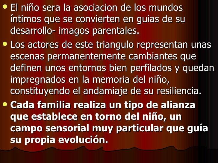 <ul><li>El niño sera la asociacion de los mundos íntimos que se convierten en guias de su desarrollo- imagos parentales. <...