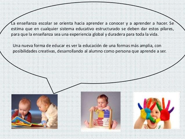 La enseñanza escolar se orienta hacia aprender a conocer y a aprender a hacer. Se  estima que en cualquier sistema educati...