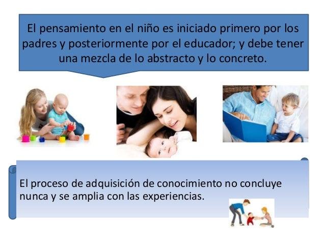El pensamiento en el niño es iniciado primero por los  padres y posteriormente por el educador; y debe tener  una mezcla d...