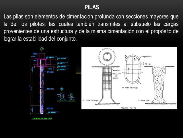 PILAS Las pilas son elementos de cimentación profunda con secciones mayores que la del los pilotes, las cuales también tra...