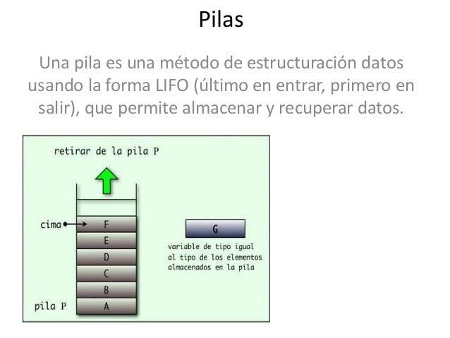 Pilas Una pila es una método de estructuración datosusando la forma LIFO (último en entrar, primero en salir), que permite...