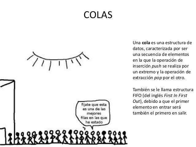 COLAS        Una cola es una estructura de        datos, caracterizada por ser        una secuencia de elementos        en...