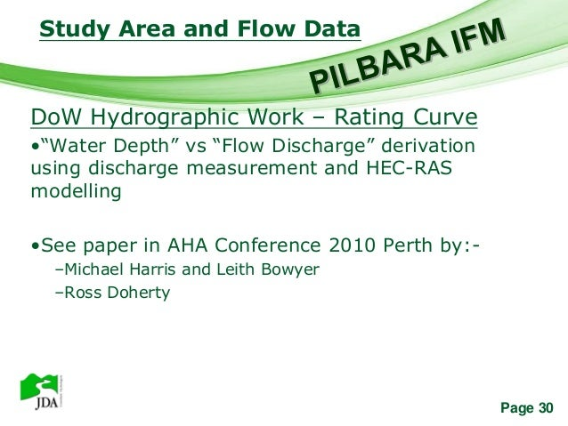 """Study Area and Flow Data                Free Powerpoint TemplatesDoW Hydrographic Work – Rating Curve•""""Water Depth"""" vs """"Fl..."""