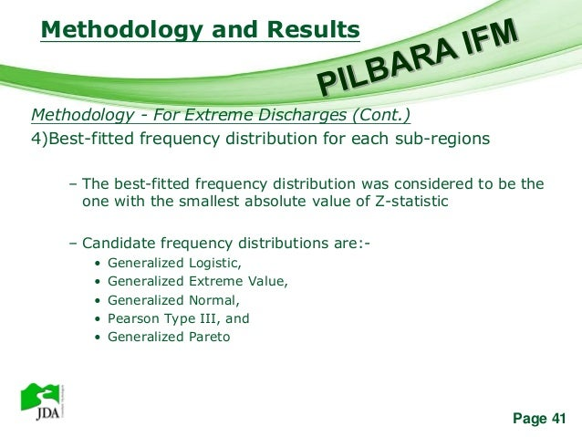 Methodology and Results                     Free Powerpoint TemplatesMethodology - For Extreme Discharges (Cont.)4)Best-fi...