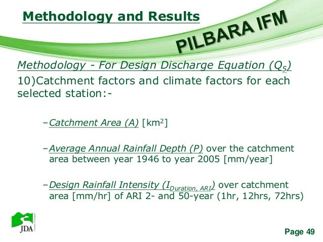 Methodology and Results                Free Powerpoint TemplatesMethodology - For Design Discharge Equation (Q5)10)Catchme...