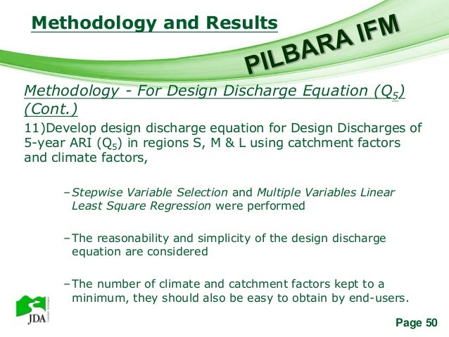 Methodology and Results                   Free Powerpoint TemplatesMethodology - For Design Discharge Equation (Q5)(Cont.)...
