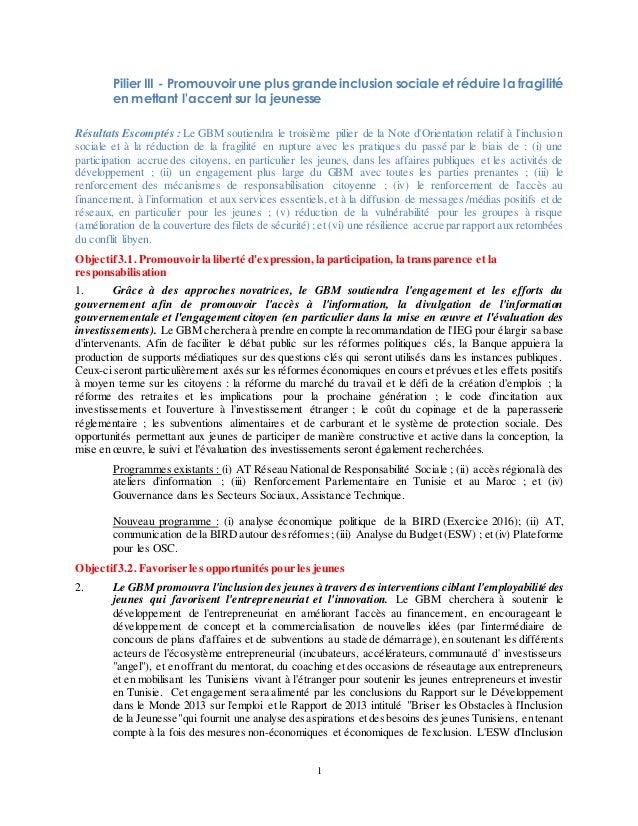 1 Pilier III - Promouvoir une plus grande inclusion sociale et réduire la fragilité en mettant l'accent sur la jeunesse Ré...