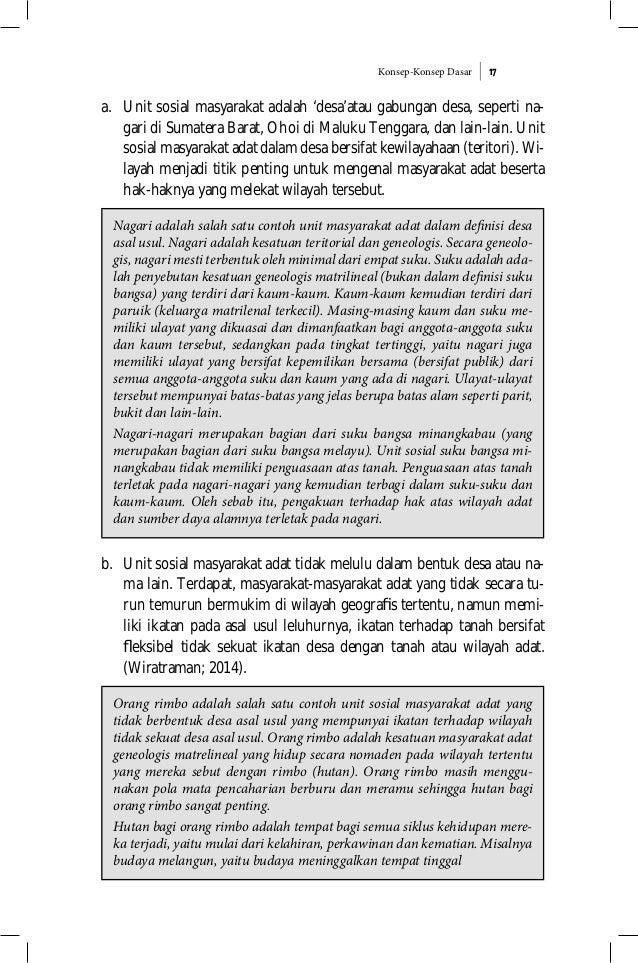 Konsep-Konsep Dasar 17 a. Unit sosial masyarakat adalah 'desa'atau gabungan desa, seperti na- gari di Sumatera Barat, Ohoi...