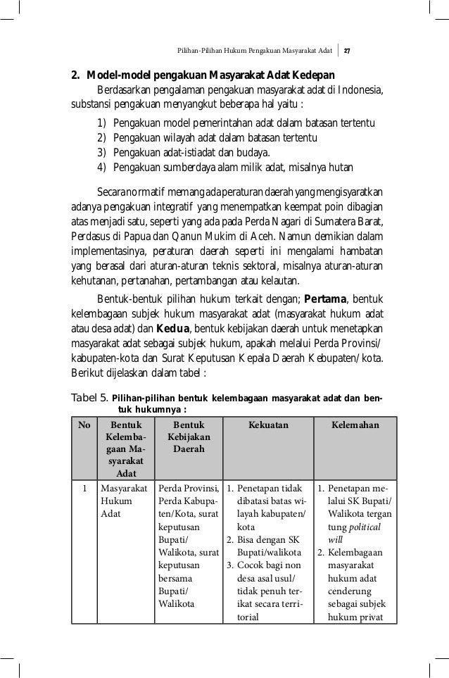 Pilihan-Pilihan Hukum Pengakuan Masyarakat Adat 27 2. Model-model pengakuan Masyarakat Adat Kedepan Berdasarkan pengalaman...