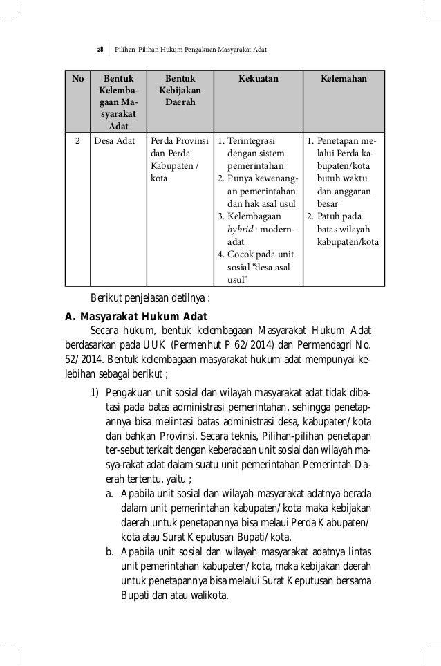 Pilihan-Pilihan Hukum Pengakuan Masyarakat Adat28 No Bentuk Kelemba- gaan Ma- syarakat Adat Bentuk Kebijakan Daerah Kekuat...