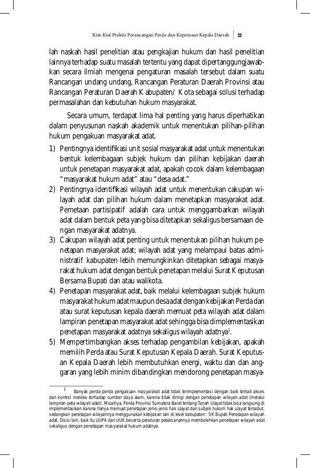 Kiat-Kiat Praktis Perancangan Perda dan Keputusan Kepala Daerah 33 lah naskah hasil penelitian atau pengkajian hukum dan h...