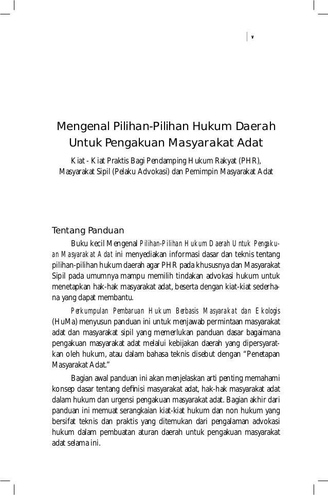 v Mengenal Pilihan-Pilihan Hukum Daerah Untuk Pengakuan Masyarakat Adat Kiat - Kiat Praktis Bagi Pendamping Hukum Rakyat (...