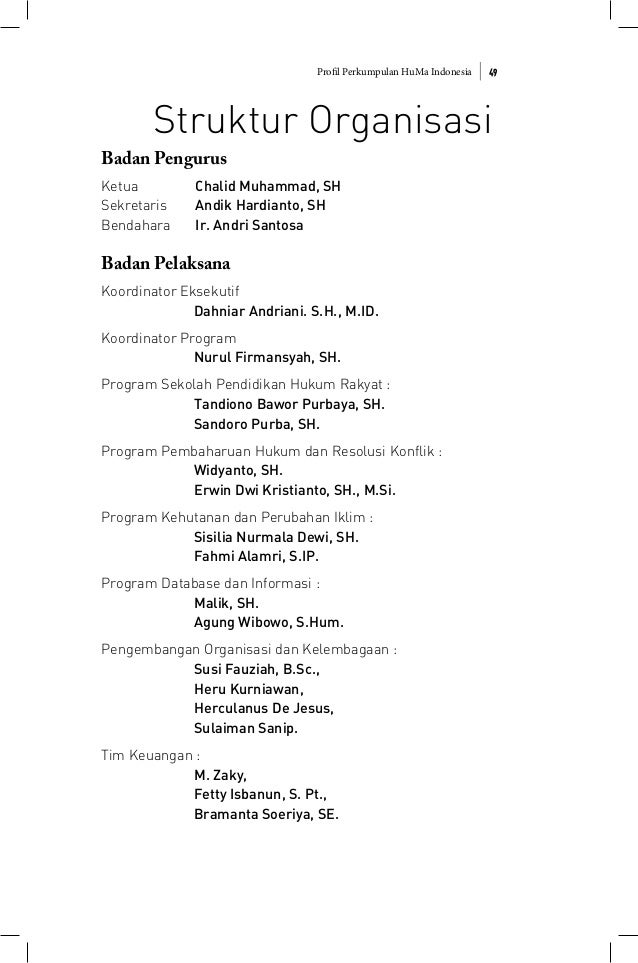 Profil Perkumpulan HuMa Indonesia 49 Struktur Organisasi Badan Pengurus Ketua Chalid Muhammad, SH Sekretaris Andik Hardian...