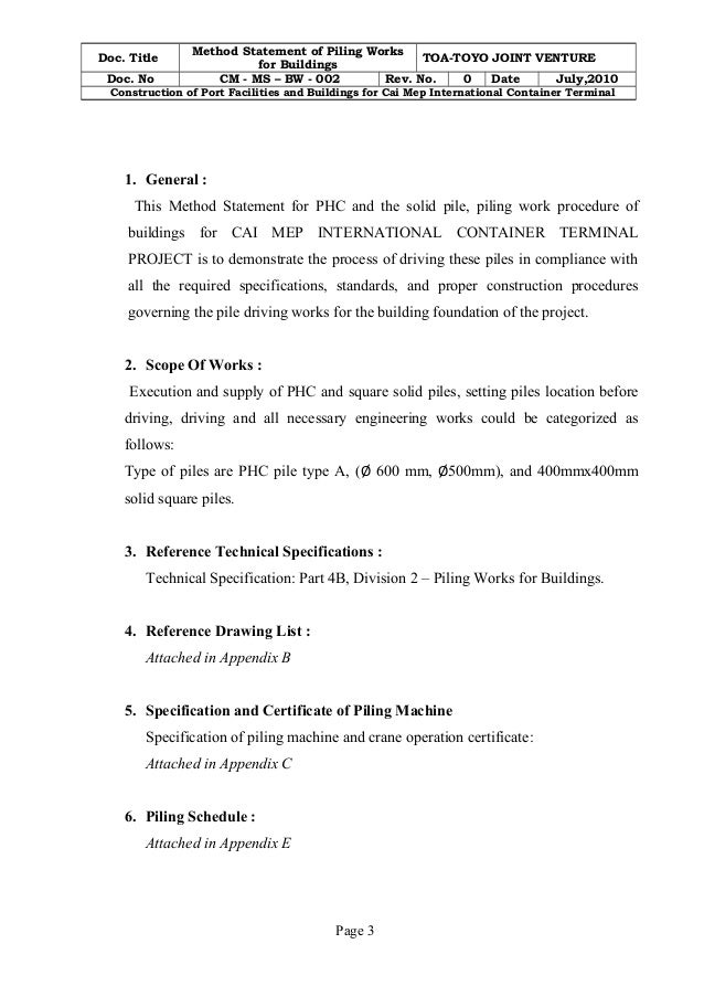 Piling work method statement cm- ms- bw - 002