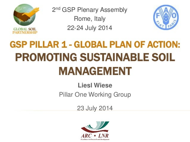 GSP PILLAR 1 - GLOBAL PLAN OF ACTION: PROMOTING SUSTAINABLE SOIL MANAGEMENT 2nd GSP Plenary Assembly Rome, Italy 22-24 Jul...