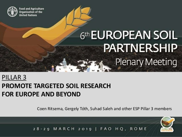 PILLAR 3 PROMOTE TARGETED SOIL RESEARCH FOR EUROPE AND BEYOND Coen Ritsema, Gergely Tóth, Suhad Saleh and other ESP Pillar...