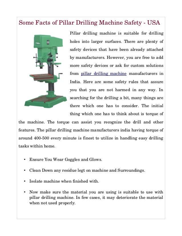 Some Safety Elements of Pillar Driling Machine